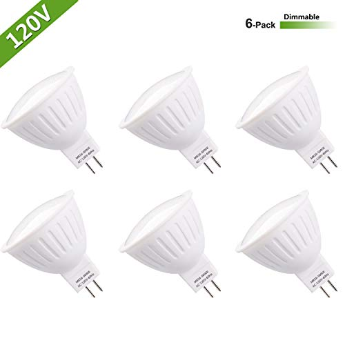 LED MR16 Light Bulb GU5.3 Base 30W MR16 Halogen Equivalent 3W MR16 Dimmable 120V 5000K Daylight White (6 Pack) CRI85+ 120 Degree Beam Angle MR16 Bulb Bulb for Outdoor Landscape ()