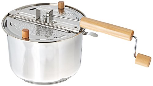 Wabash Valley Farms Whirley Pop Stovetop Popcorn Popper with Popping Kit (Stainless Steel) (Steel Pop)