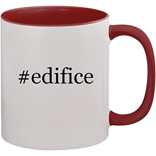 #edifice - 11oz Ceramic Colored Inside and Handle Coffee Mug Cup, Maroon