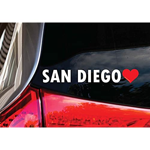 San diego heart window decal sticker 8 for cars trucks or any smooth surface waterproof 7 year durability not an average sticker