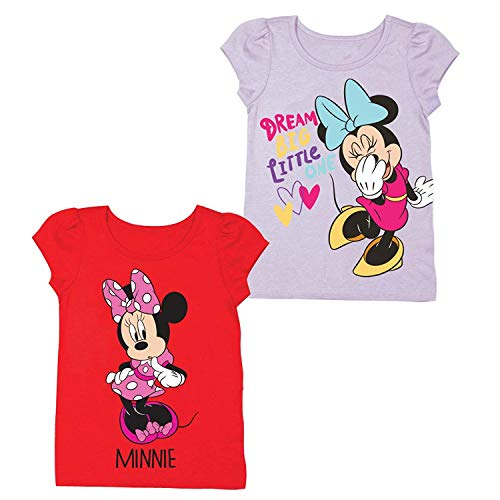 Disney Junior Minnie Mouse Shirt - 2 Pack of Minnie Mouse Tees - Featuring Fashion Icon Minnie Mouse (Red/Pink, 2T) ()