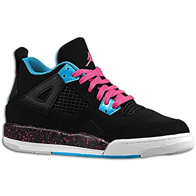 a76fa58496ad Girls Air Jordan 4 Retro - Black Vivid Pink Dynamic Blue White (