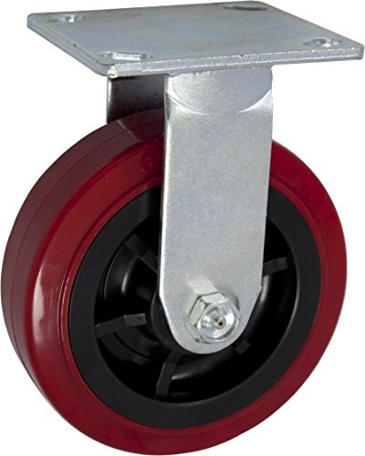 6'' X 2'' Heavy Duty Caster Set of 4-2 Swivel Casters and 2 Rigid Casters - 3600 lbs Per Set of 4 - (4 Pack) - Dark red Polyurethane on Black Polyolefin Core - CasterHQ Brand Casters by CasterHQ (Image #2)