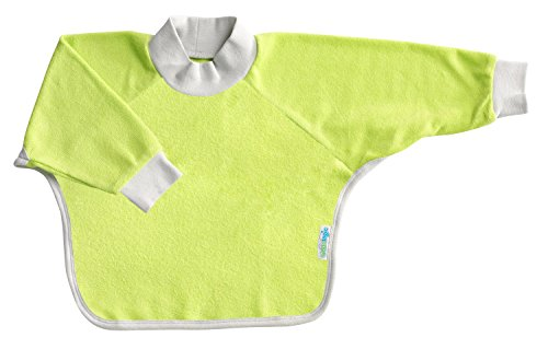 Kiddologic bibit-all Baby & Toddler Long Sleeved Full Coverage Pullover Waterproof Terry Bib (6-12 months (infant), fresh lime)