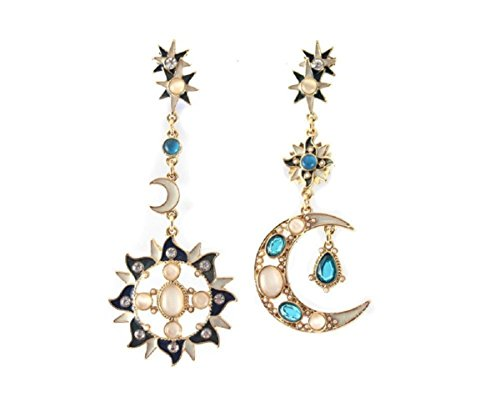 KUPOO Romantic Attractive Special Opal Sun and Moon Metal Earrings Drop Earring for Woman by KUPOO