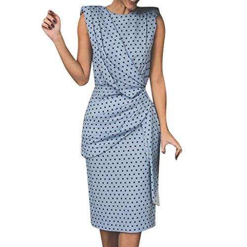 - Fastbot Women's Casual Short Sleeve T Shirt Dresses Bohe Wave Point Print Slim O-Neck Less Evening Dress Sky Blue