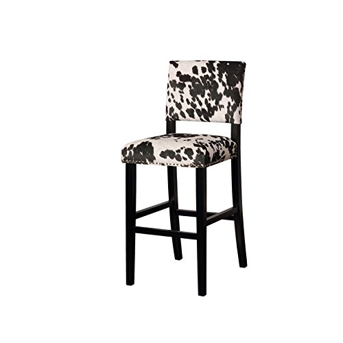 Riverbay Furniture Cow Print Bar Stool in Black (Cow Bar Stools)