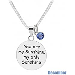 "TISDA Birthstone Crystals Necklace,""You are my Sunshine my only Sunshine"" Necklace 18"" chain (Decembe)"