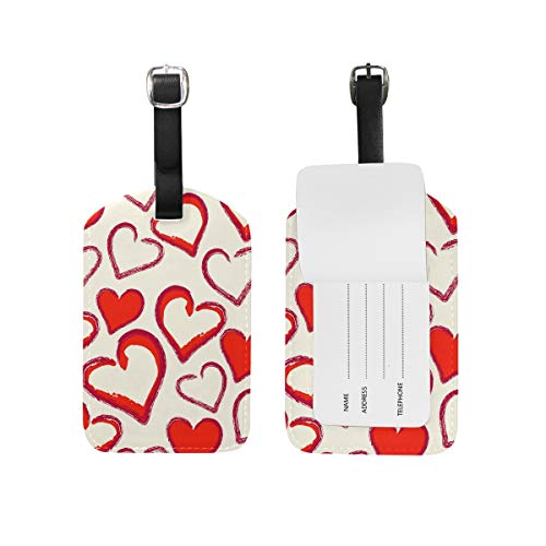 TropicalLife Valentine's Day Red Heart Shaped Luggage Tag PU Leather for Travel ID Suitcase Labels Bag Baggage Tags, 1 Piece