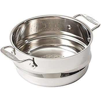 All-Clad 4703-ST-2 Stainless Steel Dishwasher Safe 3-Quart Universal Steamer with 2 Loops / Cookware, Silver