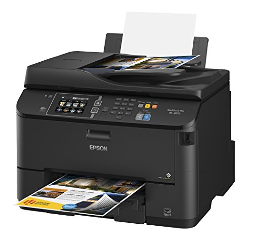 Impresora de inyección de tinta todo en uno inalámbrica a color Epson Workforce Pro WF-4630 con escáner y copiadora, reabastecimiento del tablero de instrumentos de Amazon habilitado