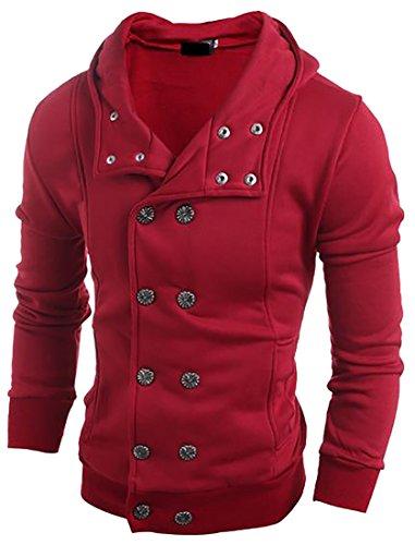 Papijam Men's Casual Double Breasted Soft Solid Hoodies Sweatshirts Wine Red Medium