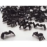 50 SMALL BLACK PLASTIC SPIDERS HALLOWEEN