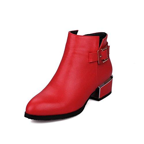 AllhqFashion Damen Hoher Absatz Eingelegt Spitz Zehe Reißverschluss Stiefel mit Metallisch, Rot, 37