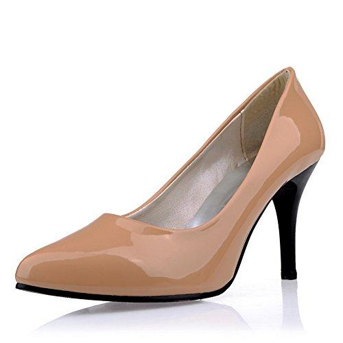 Balamasa Damer Stiletto Winkle Pinker Utringede Overdel Patent Lær Pumper-sko Aprikos