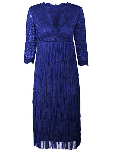 Vijiv Women's Lace Sequin Fringe Flapper Cocktail Prom Formal Eve Party Dress (Homemade Costumes For Plus Size Women)