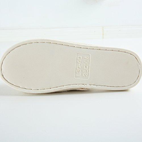 Zapatillas Para Mujer, Piel Sintética Con Punta Abierta Y Espuma Viscoelástica Comfort Zapatos Interiores Con Suela Antideslizante De Pvc Por Fitory Beige