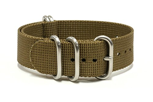 PerFit ZULU4 Ballistic Nylon Watch Strap + Spring Bars, Field Ready/Fashion Forward,, Choose Color/Size(18mm,20mm,22mm,24mm,26mm), Dress Khaki, 24mm (Field Watch Ultimate)