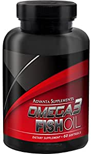 Advanta Supplements Omega3 Fish Oil, 60 Softgels (Pharmaceutical Grade Omega-3)