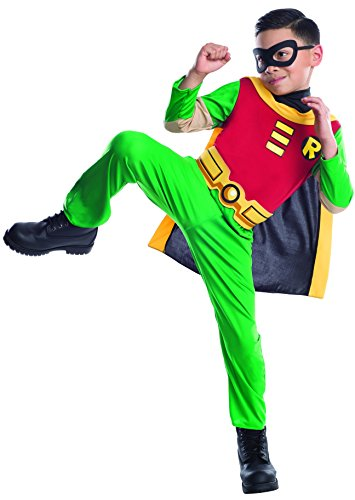 [CHILD Med. (Size 8-10, 5-7 Yrs) Teen Titans Robin Costume - Officially Licensed TM] (Teen Titan Robin Costumes)