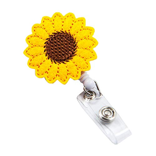 (Iulove_Tools & Home Improvement Sunflower Badge Reel Holder Accurate Stitching Strap Telescopic Retracting Clip)