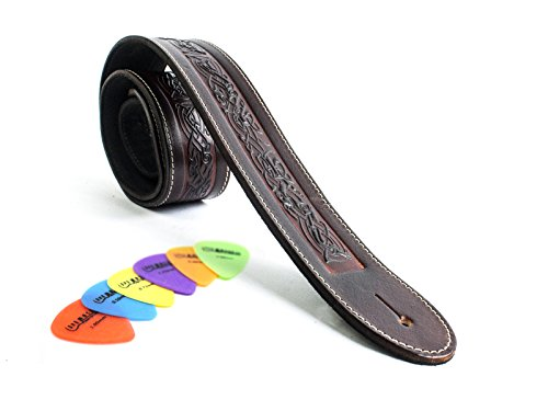 Uk-made Celtic Brown Irish Dog Motif Leather Guitar Strap -