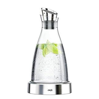 Emsa 505219 Flow Kühlkaraffe | Formschönes Design | Kühlleistung für 4h | Kühlpad | Glas und Edelstahl | Transparent | 1 Liter 8