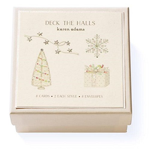 Karen Adams Deck the Halls Gift Enclosure Box of 8 Assorted Christmas Cards with Vellum Envelopes