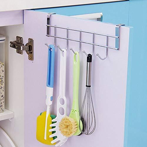 Feketeuki Eco-Friendly Silver Metal Over Door Home Bathroom Kitchen Coat Towel Hanger Rack Holder Shelf 5 Hooks Hooks /& Rails