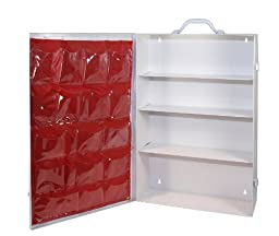 Medique Products 701MTM 4 Shelf First Aid Cabinet with Pockets, Empty