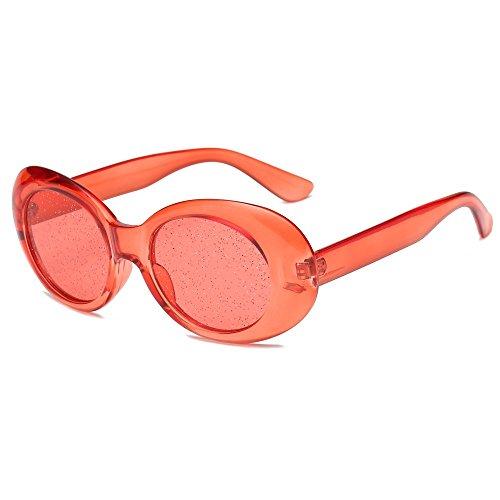Sunglasses Transparente Mujer Oval de TL Sol Gafas de Femenino Gafas Dulces de Rojo Color de de Verano Sol Color ZwwdqC