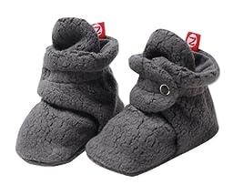 Zutano Unisex Baby Cozie Fleece Bootie, Gray, 12 Months