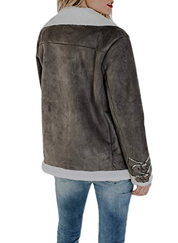 Sidefeel Women Faux Suede Jacket Zipper Up Front Coat Outwear with Pockets XX-Large Grey by Sidefeel (Image #2)