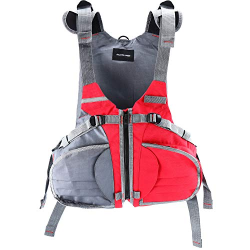 Amarine Made Adjustable Size Life Jacket/Personal Floatation Device for Boat Buoyancy Aid Sailing Kayak Fishing Life Jacket Vest-D90 (Red/Gray)