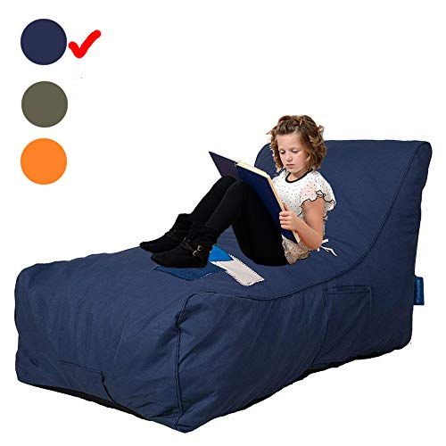 Livebest Bean Bag Chair - Floor Chair Couch Lazy Lounger Memory Foam Sofa with Dirt-Proof Oxford Fabric&Side Pocket for Kids Age 2 and Up,MOM I'm FINE,Sea Blue Blue Bean Bag Chair