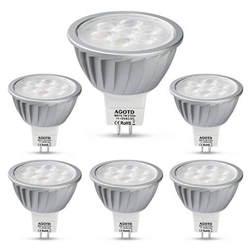 AGOTD MR16 LED Bulbs 12V 7W, 50 Watts Halogen Lamp Equiv, GU5.3 Base, 560LM, 38°Deg,Warm White 2700K, Pack of 6