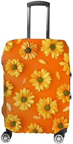 スーツケースカバー トラベルケース 荷物カバー 弾性素材 傷を防ぐ ほこりや汚れを防ぐ 個性 出張 男性と女性オレンジ色の背景に黄色の花のパターン