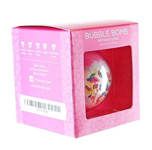 Birthday Cake Bubble Bath Bomb by Two Sisters Spa. Large 99% Natural Fizzy For Women, Teens and Kids. Moisturizes Dry Sensitive Skin. Releases Lush Color, Scent, and Bubbles. Handmade in USA