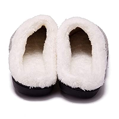 Women's Cozy Memory Foam Slippers Fuzzy Wool-Like Plush Fleece Lined House Shoes w/Indoor, Outdoor Anti-Skid Rubber Sole: Kitchen & Dining