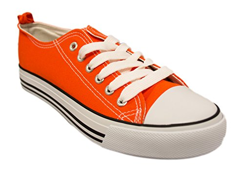 -Shop Pretty Girl Damen Turnschuhe Casual Leinwand Schuhe Solide Farben Low Top Lace Up Flache Mode 2,0 Orange