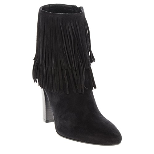 Saint Laurent Women's 'Lily 95' Fringed Almond-Toe Ankle Boot Suede Black EU 36 (US 6) (Yves St Laurent Shoes)