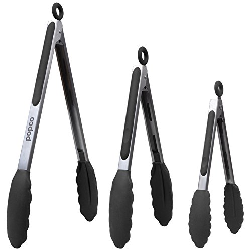 POPCO Set of 3-7,9,12 Inch, Heavy Duty, Non- Stick, Stainless Steel Silicone Kitchen Tongs. Heat Resistant (Up to 480F) & BPA Free. (Can Also be Used as BBQ Turners)