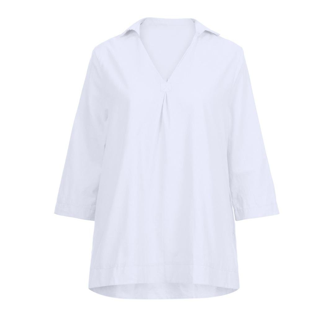 vermers Plus Size Clothes Women Autumn Solid Blouses Casual Loose V Neck Tops Wrist Sleeve Shirts
