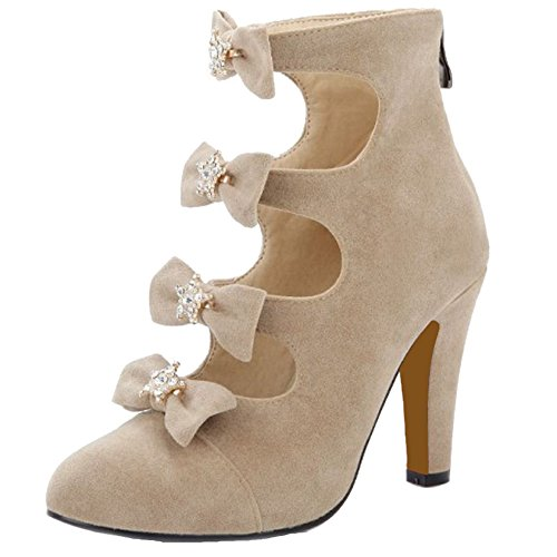 SJJH Sandal Boots with Thin Heel and Pointed Toe Gladiator Sandals with Large Size Avaialble Beige hoy1p7H