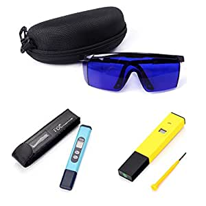 HDE Grower's Hydroponic Accessory Tool Kit - Digital pH Meter and TDS Water Quality ppm Pen and Blue Lens Grow Room Polycarbonate Safety Glasses