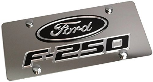 Eurosport Daytona Stainless Steel Ford F250 Black Badge License Plate Frame 3D Novelty ()