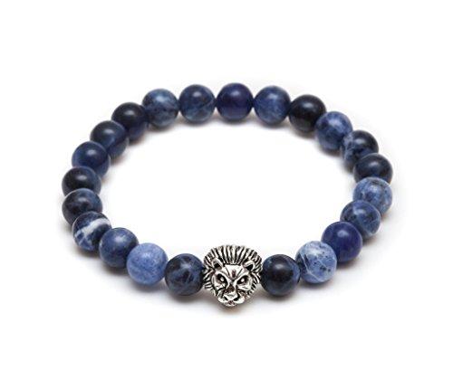ZENGER Jewelry Lion Head Beaded Bracelet - 8mm Blue Bead, Elastic, (Blue Lion Head)