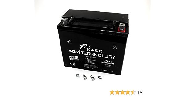 KAGE Batería GEL KAGE YTX20L-BS 20AH para Bombardier, Buell CAN-AM Cectek, CFMOTO, Harley Davidson, Honda ,Kymco Linhai Masai/Dinli Moto Guzzi, ...