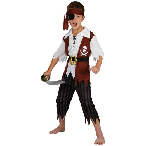 Cutthroat Pirate Boys Fancy Dress Halloween Costume S