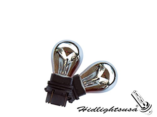 A Plus Parts House 3157 3057 3357 3457 Silver Chrome Amber Bulb - Pack of 2 (Amber Chrome Base)